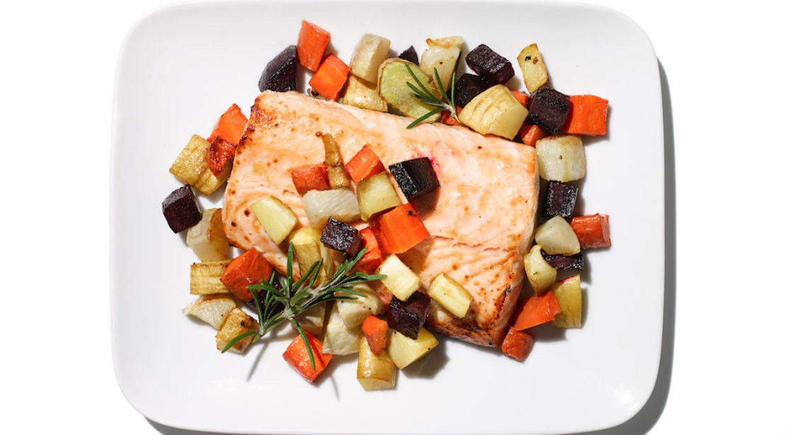 Honey Ginger Salmon and Root Medley