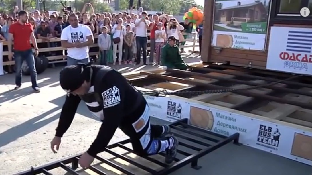 Russian Strongman Elbrus Nigmatullin Sets New World Record Pulling a House