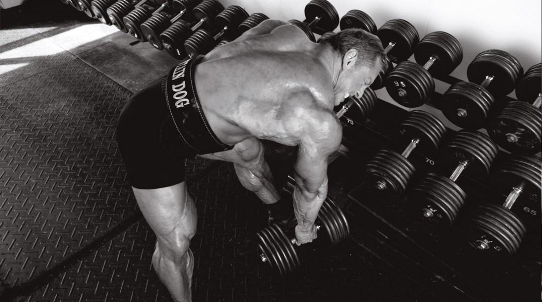 IFBB-Bodybuilder-John-Meadows-Lifting-Dumbbell-Rack-BW