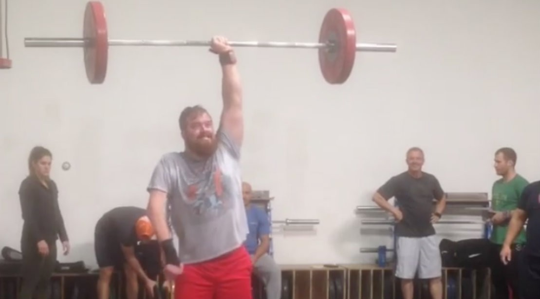 One-arm overhead barbell lift from James Spurgin