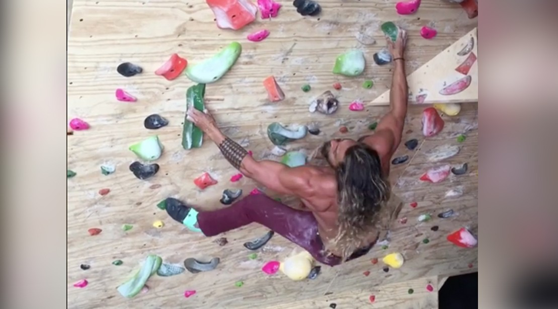 Jason Momoa Continues to Crush Extremely Challenging Rock Climbing Wall