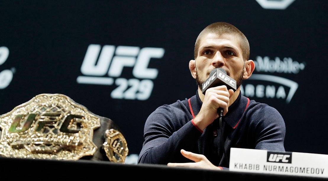 Khabib Nurmagomedov speaks during a press conference for UFC 229.