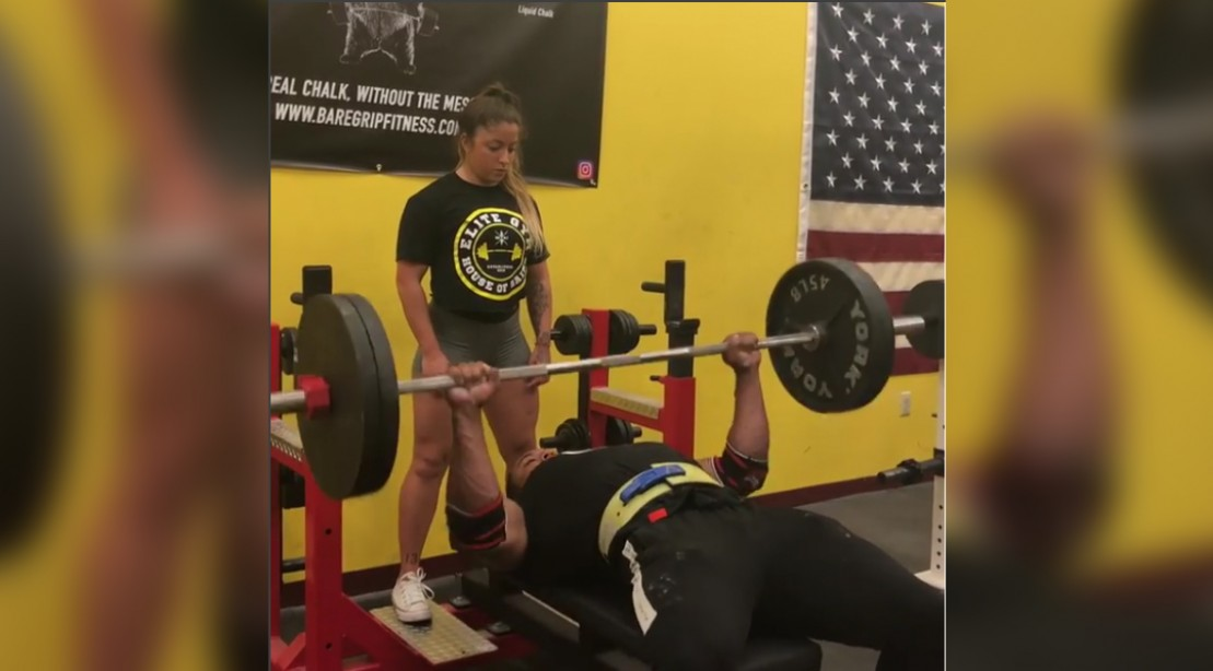 Larry Wheels benching 225 pounds 70 times