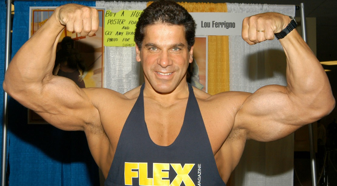 Lou Ferrigno flexing biceps