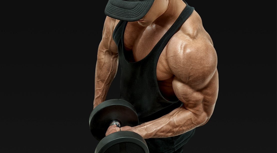Man-Wearing-Hat-Bicep-Dumbbell-Curl