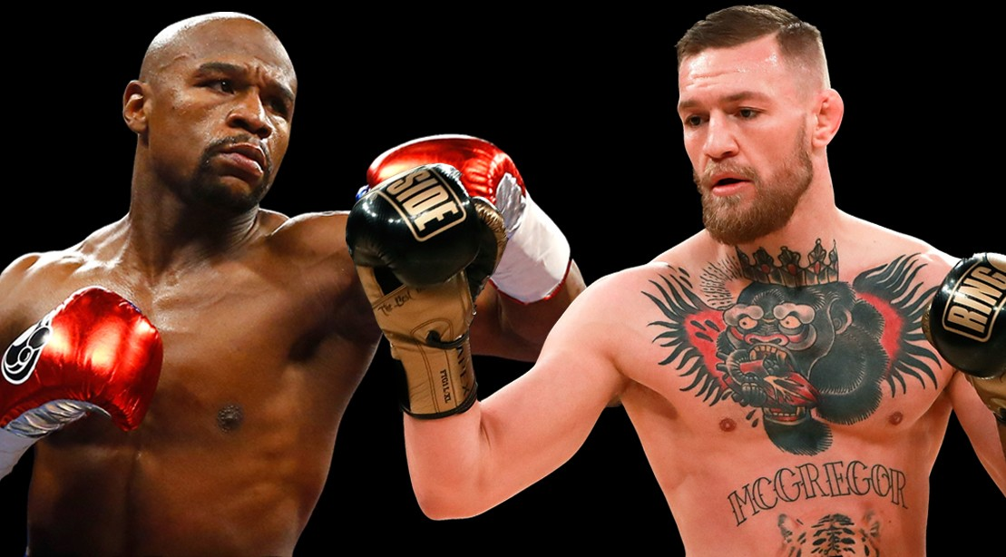 Floyd Mayweather and Conor McGregor squaring up