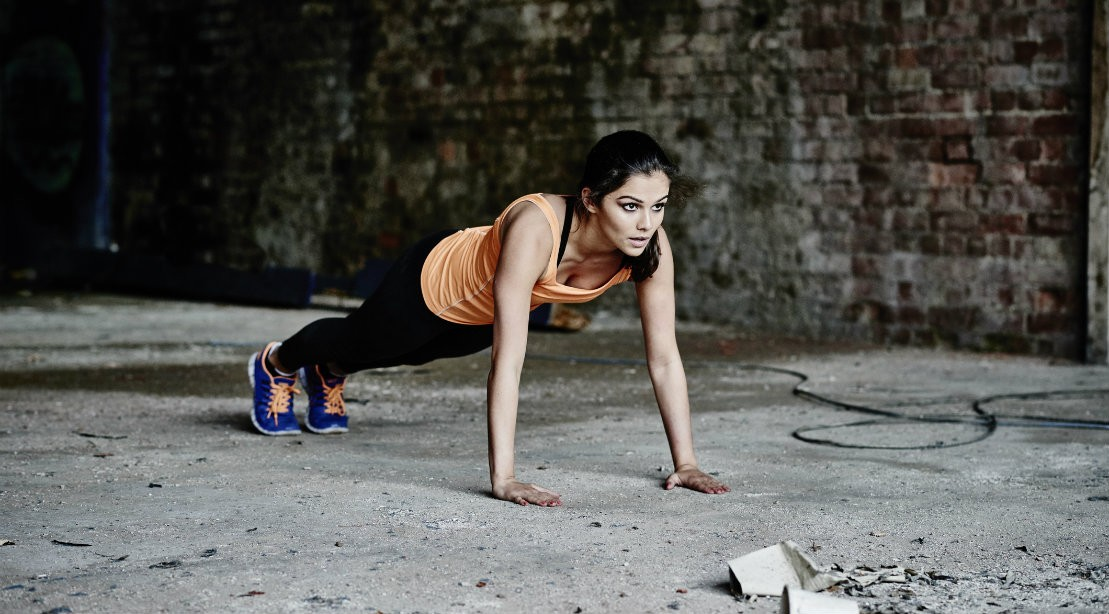 Woman performing pushup