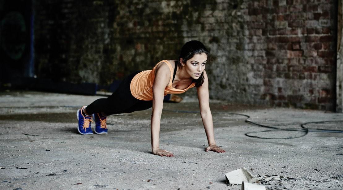 Woman performing pushup