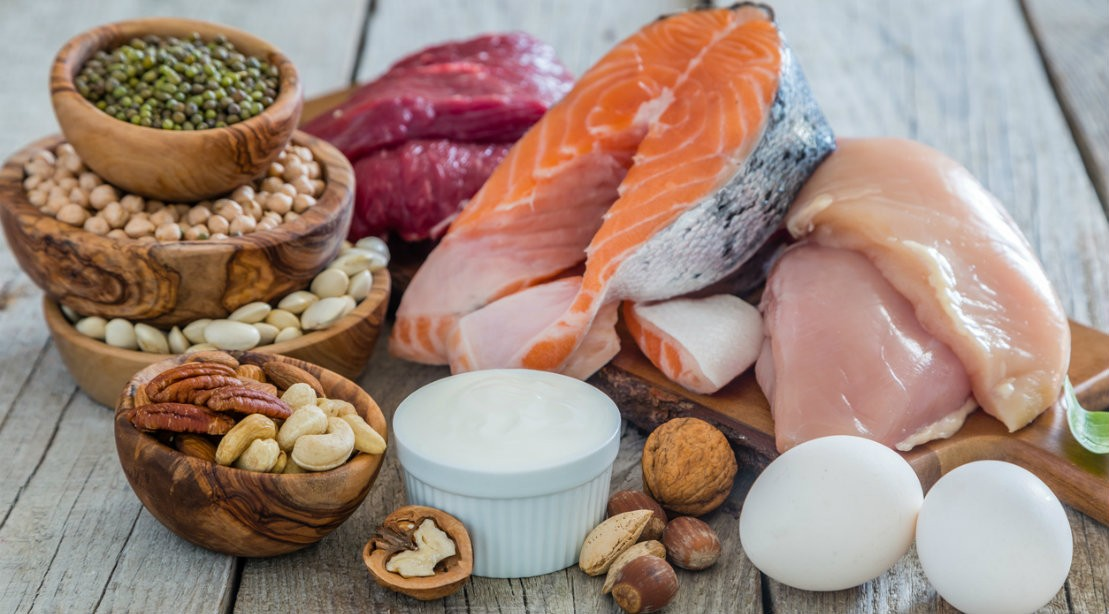 Protein rich foods including fish, chicken, nuts and beans