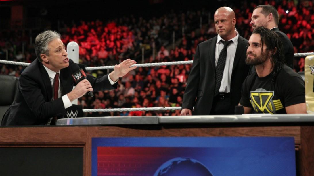 WWE Raw Jon Stewart, Seth Rollins