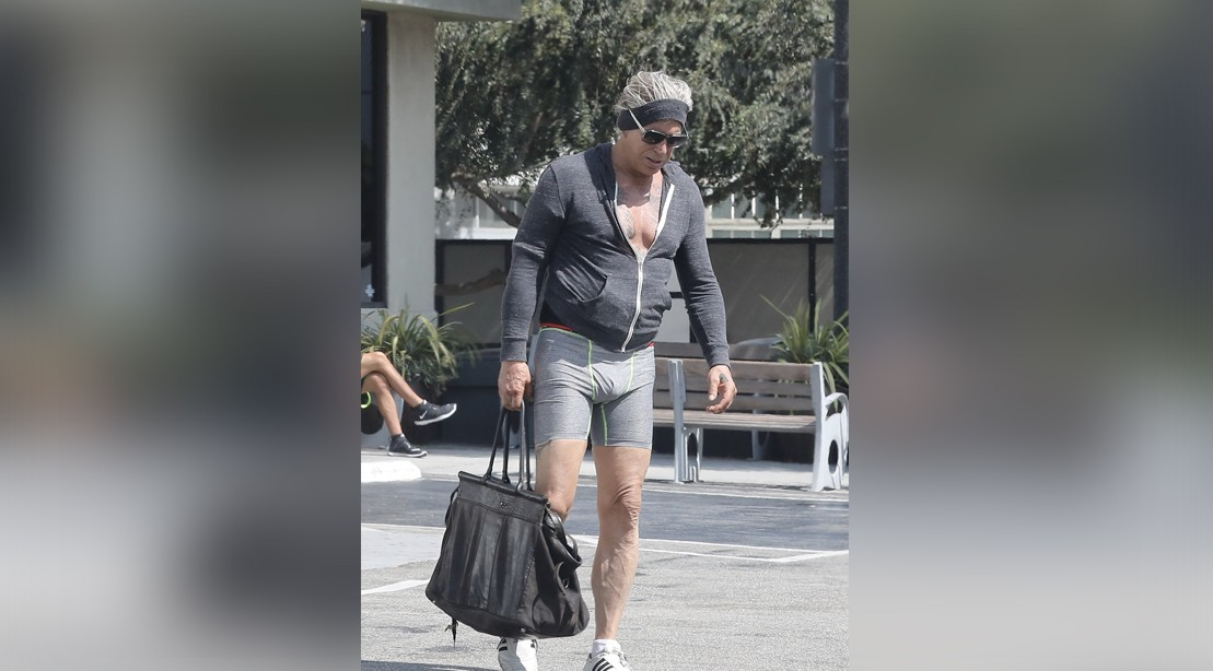 Mickey Rourke and Jean Claude Van Damme Get in a Workout at Gold's Gym in Venice Beach