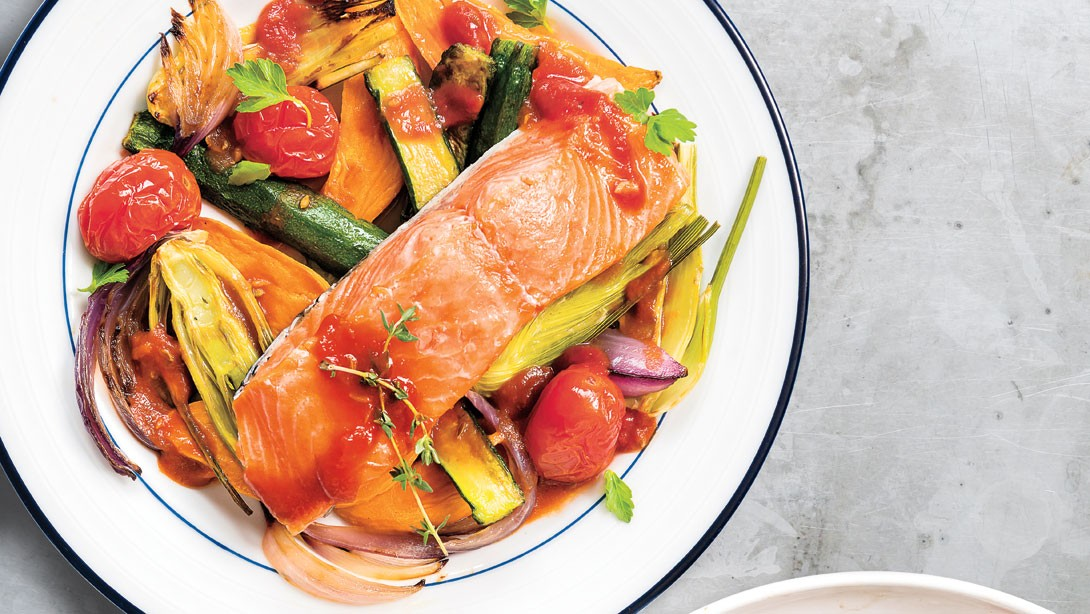 Salmon with Saffron Tomatoes, Fennel, and Sweet Potato