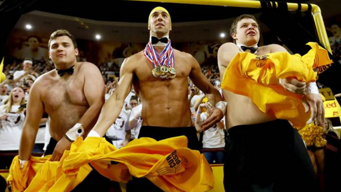 Michael Phelps Distracts Free Throw Shooter At Basketball Game