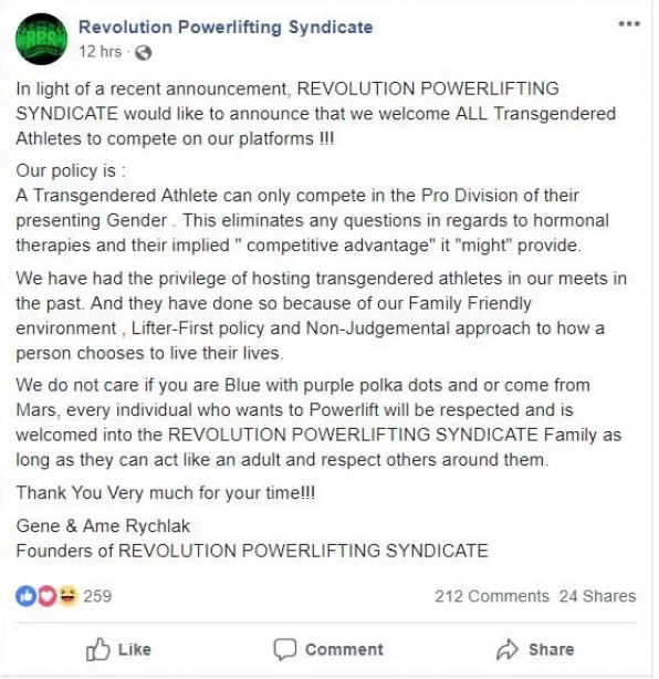 USA Powerlifting revokes trasngender policy