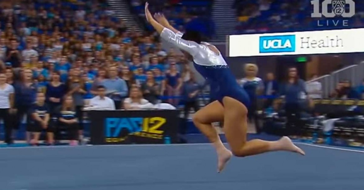 College Gymnast Amuses The Crowd With Her Floor Routine