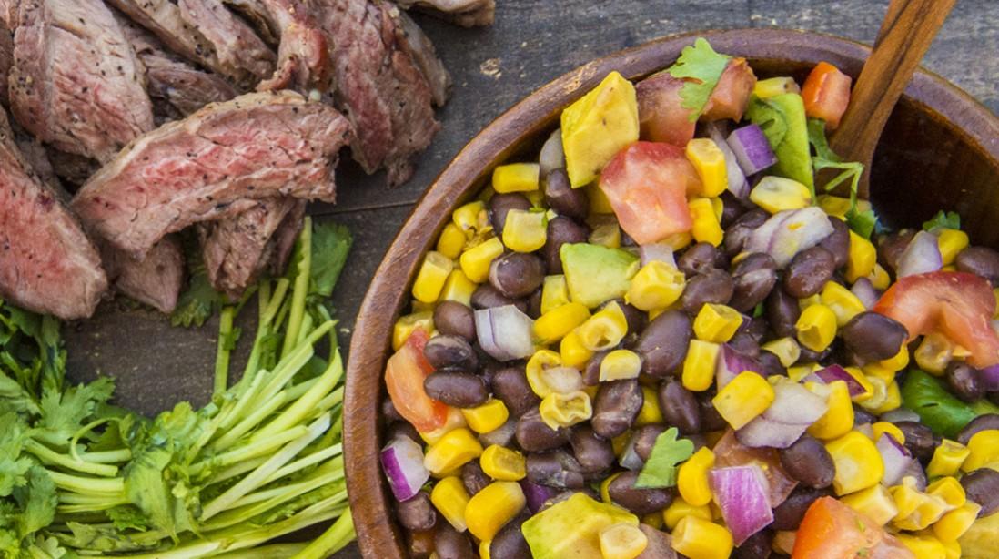Skirt steak corn avacado salsa