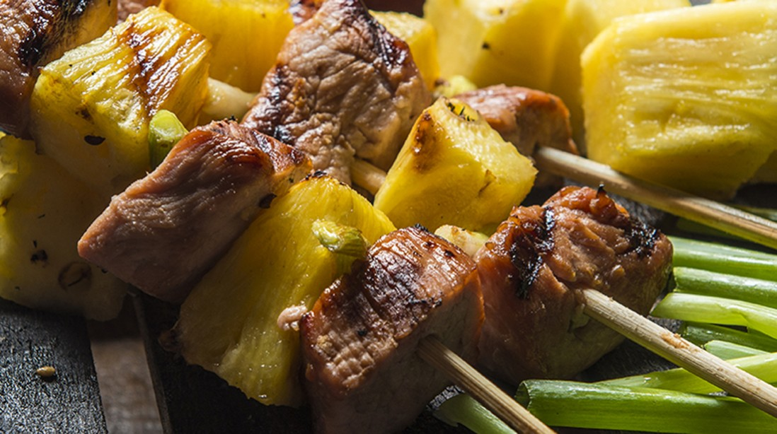 Sticky Teriyaki Pork and Pineapple Skewers