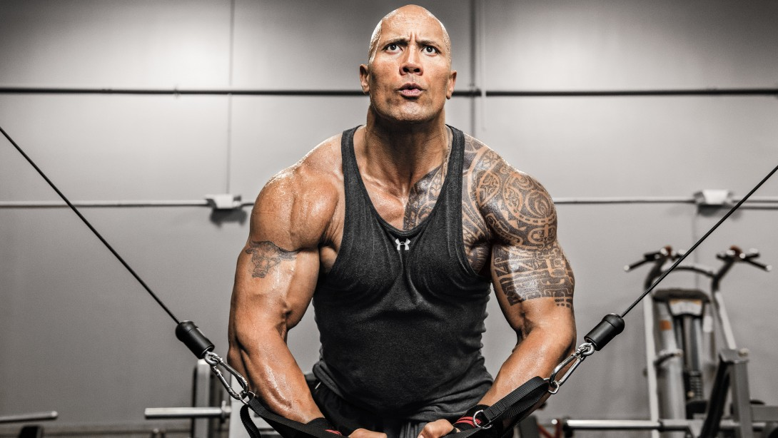 Dwayne Johnson Using Cable Machine