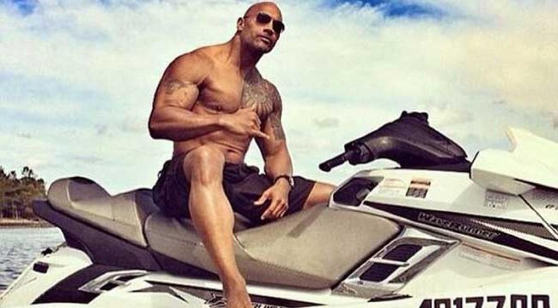The Rock aka Dwayne Johnson on a Jet ski