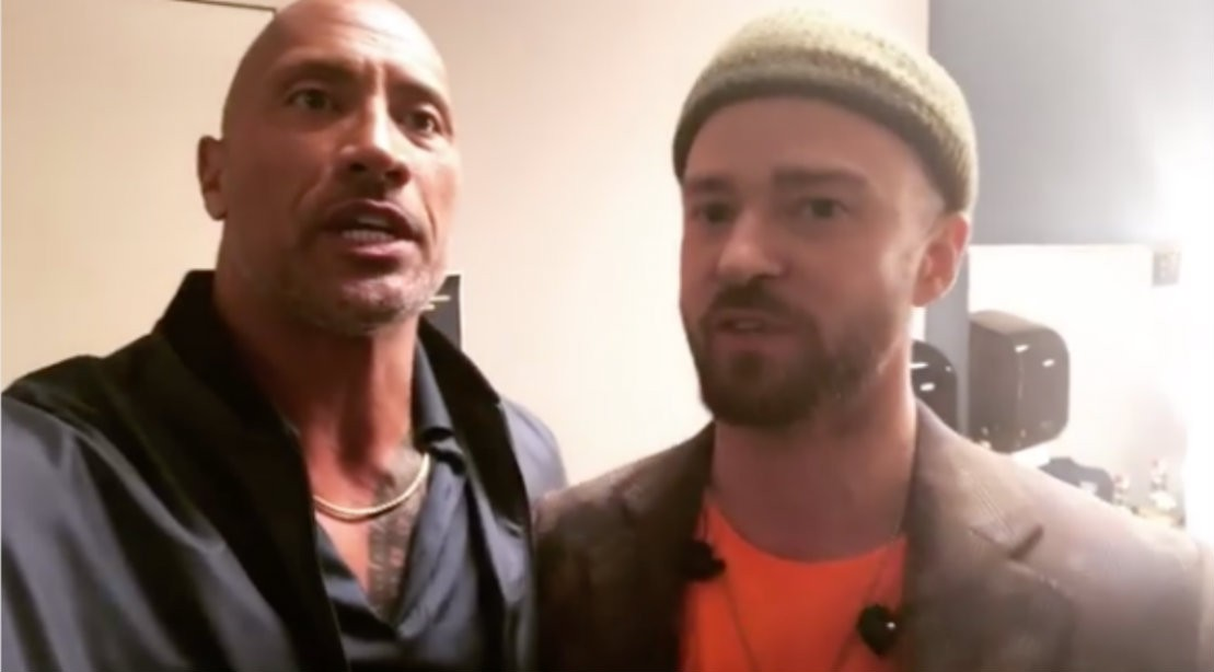 Dwayne The Rock Johnson with Justin Timberlake