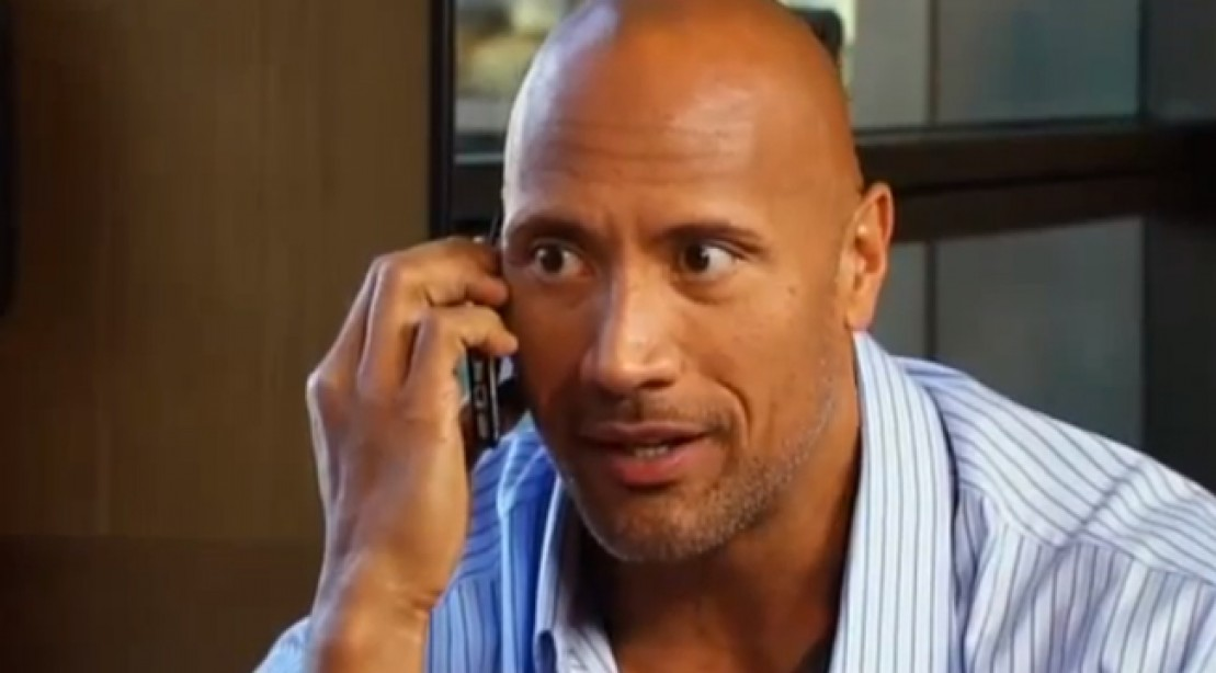 The Rock on the phone.