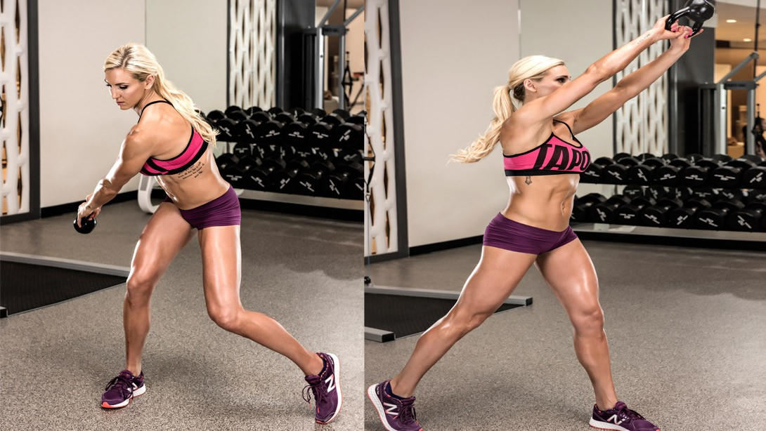 Charlotte Demonstrates the Kettlebell Tree Chop Exercise