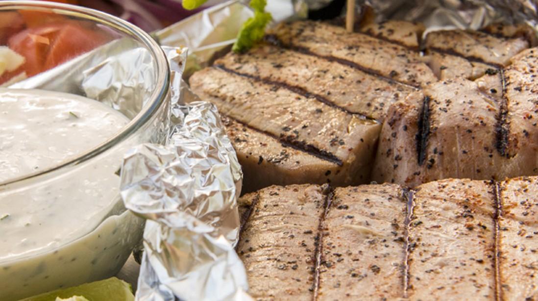 Tuna Tacos with Lime & Cilantro Cream