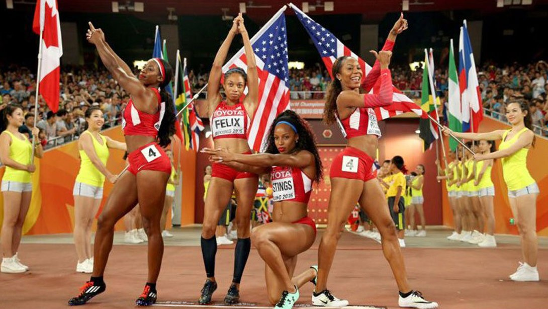 U.S. Women's Relay Team Strikes a Pose Before Championships