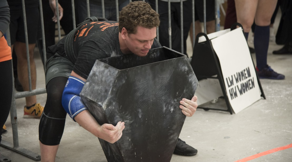 Andrew Gutman competing at a Strongman competition
