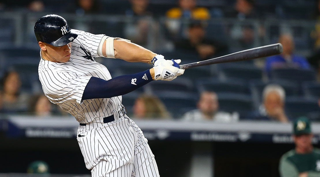 Aaron Judge #99 of the New York Yankees in action against the Oakland Athletics at Yankee Stadium on May 11, 2018 in the Bronx borough of New York City. Oakland Athletics defeated the New York Yankees 10-5.