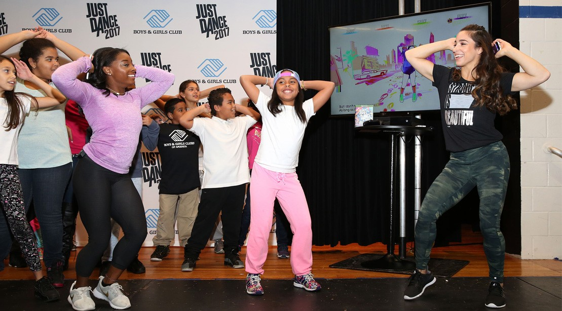 Simone Biles & Aly Raisman Attend 'Just Dance' Event at Kips Bay Boys and Girls Club