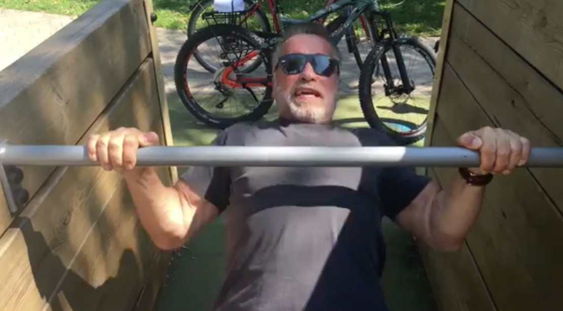Arnold Pumps Iron While Filming 'Terminator' in Budapest