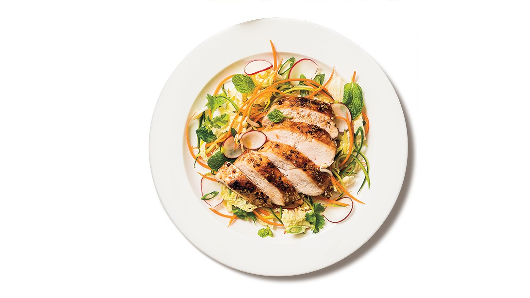 Summer Roll Kimchi Salad and Sesame Chicken