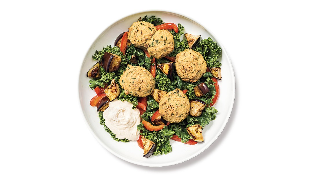 Baked Falafel with Roasted Veggies and Kale