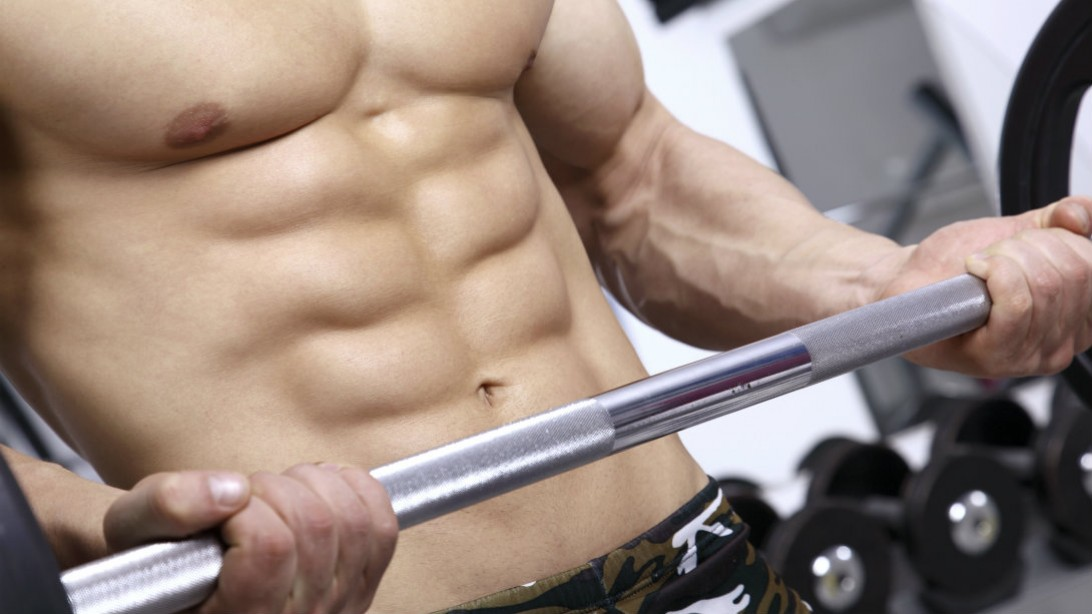 barbell curl with shredded abs