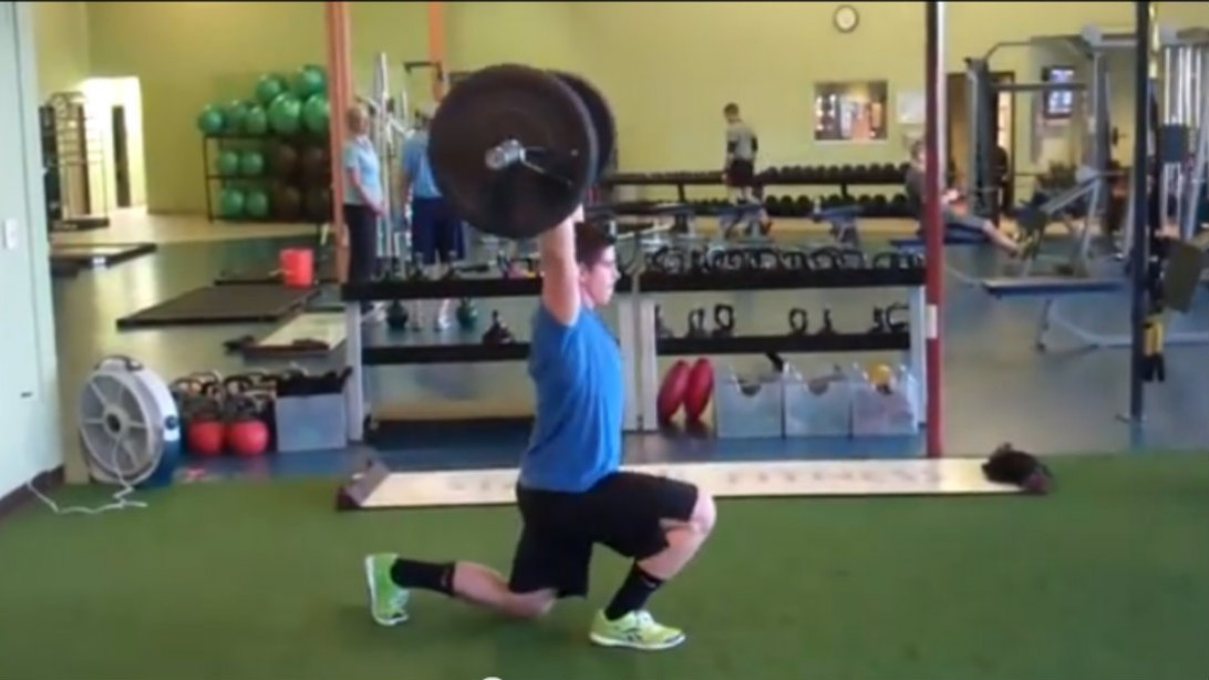 barbell overhead lunge