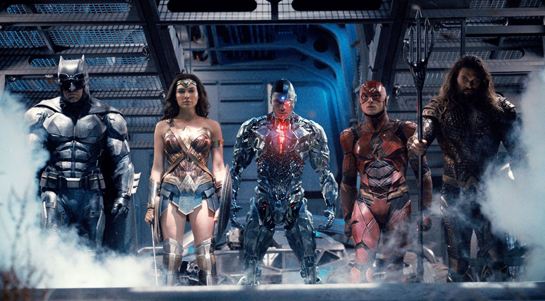 Justice League assembles with Batman, Aquaman, Cyborg, Wonder Woman, Flash, and no Superman