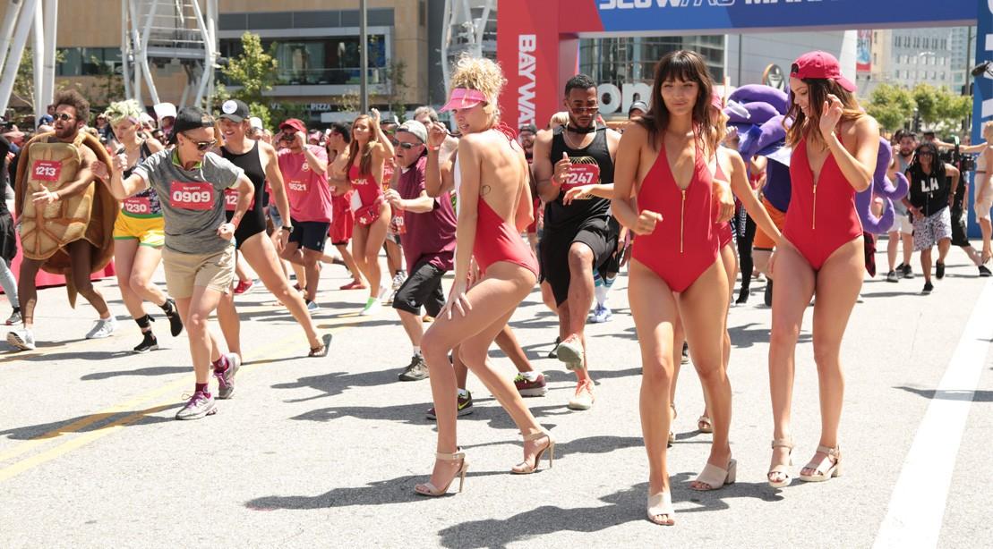 Fans Running In .5k Baywatch Marathon At L.A. Live