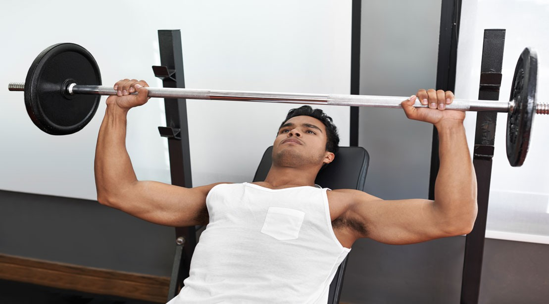 bench press man white shirt 1109 0