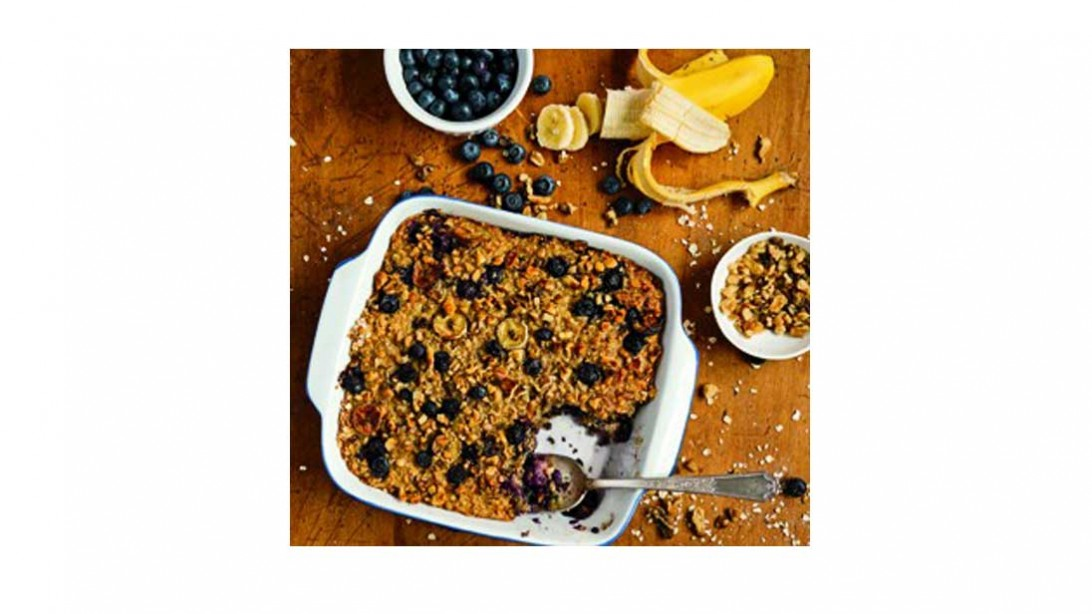 serving dish of blueberry banana baked oatmeal
