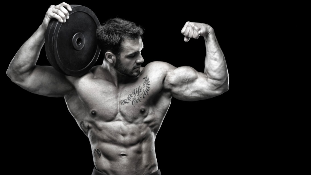 Bodybuilder Bicep Flex Holiday Workout