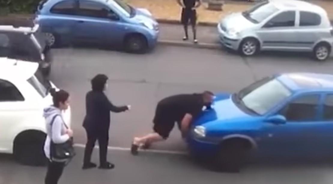 A Furious Turkish Hulk Casually Manhandles a Neighbors Car Over a Parking Dispute