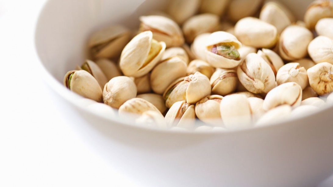 pistachios in a white bowl
