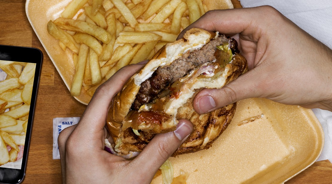 Fast Food Cheese Burger and French Fries
