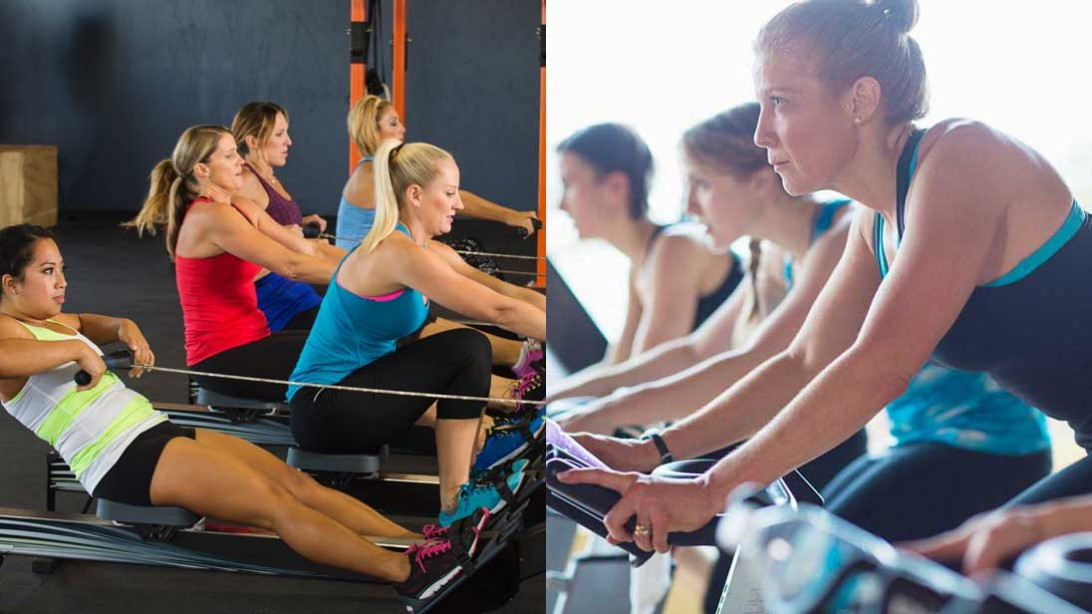 rowing class and cycling class