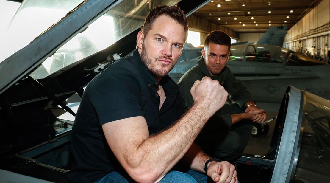 Chris Pratt Flexes His Muscles