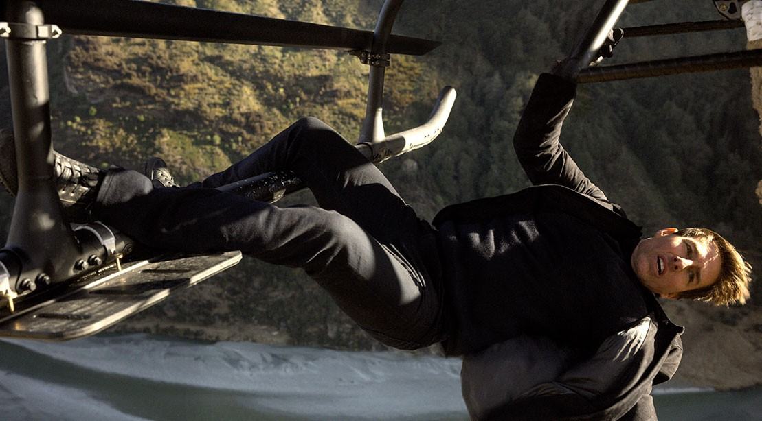 Tom Cruise doing a stunt for Mission: Impossible - Fallout