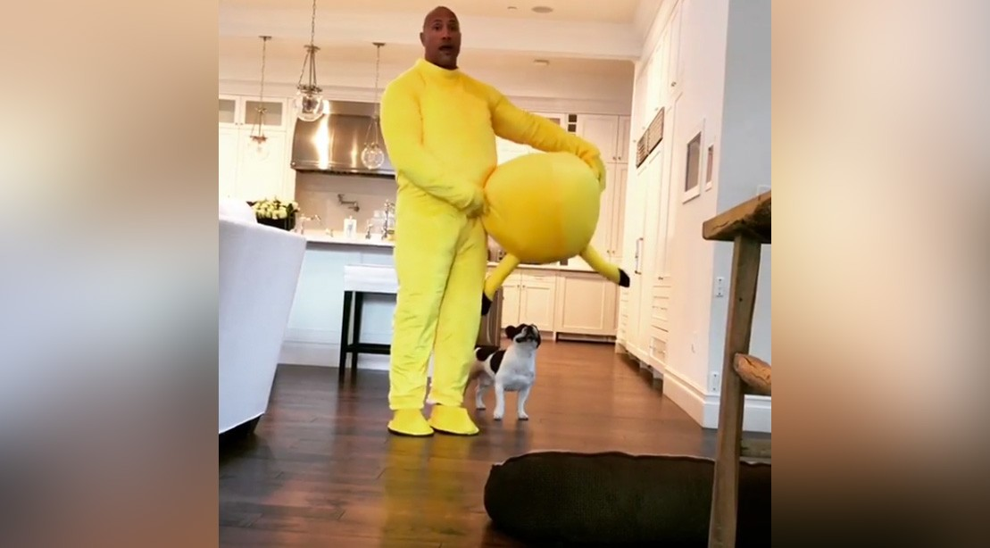 Dwayne Johnson Wearing A Pikachu Suit