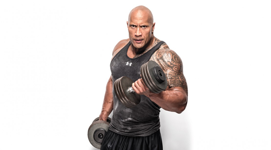 Dwayne Johnson Dumbbell Curl