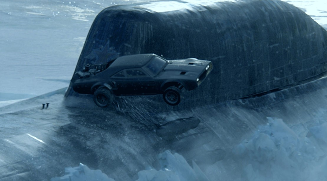Fate Of The Furious Scene Car Jumps Submarine.